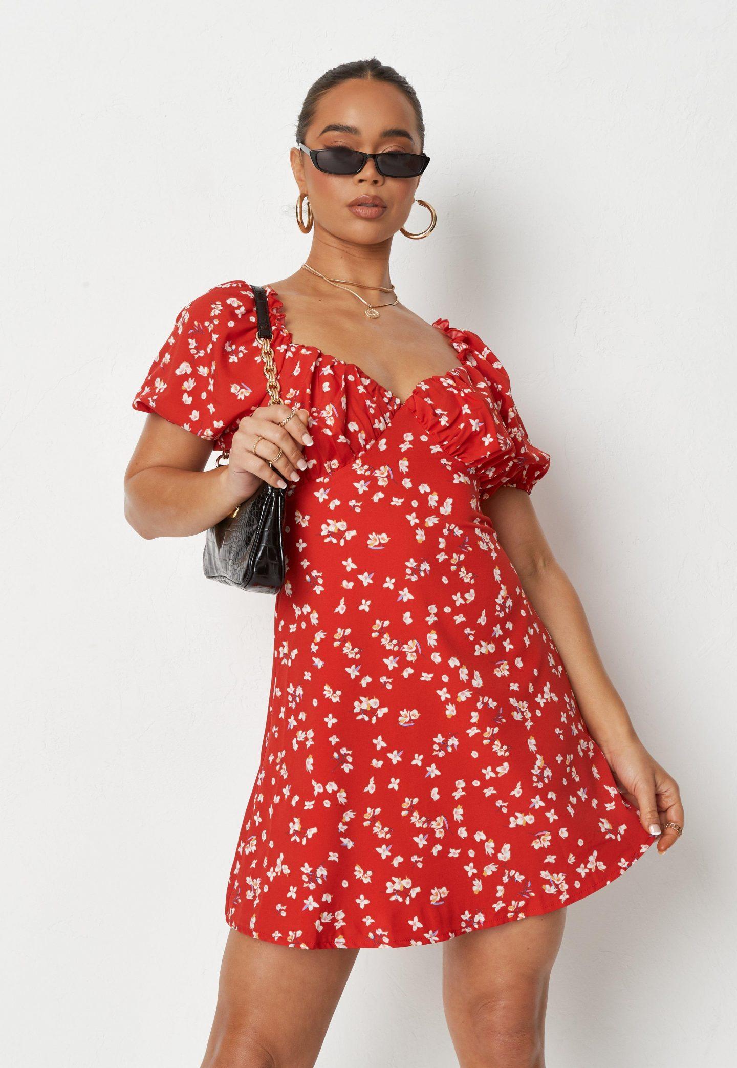 Red babydoll floral dress
