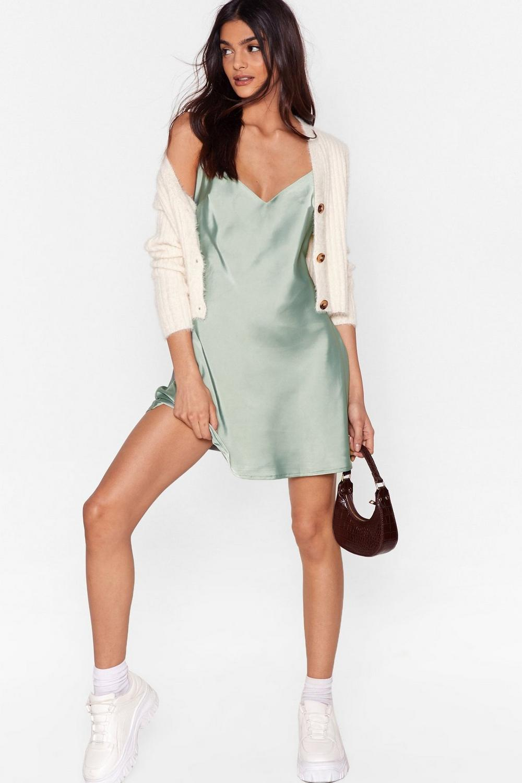 Sage green satin slip mini dress