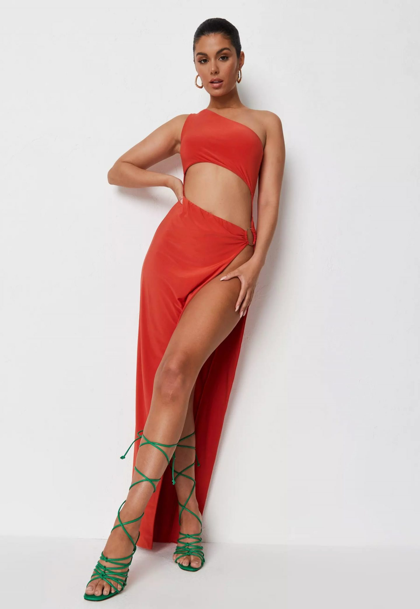 Orange cut out maxi dress with thigh slit