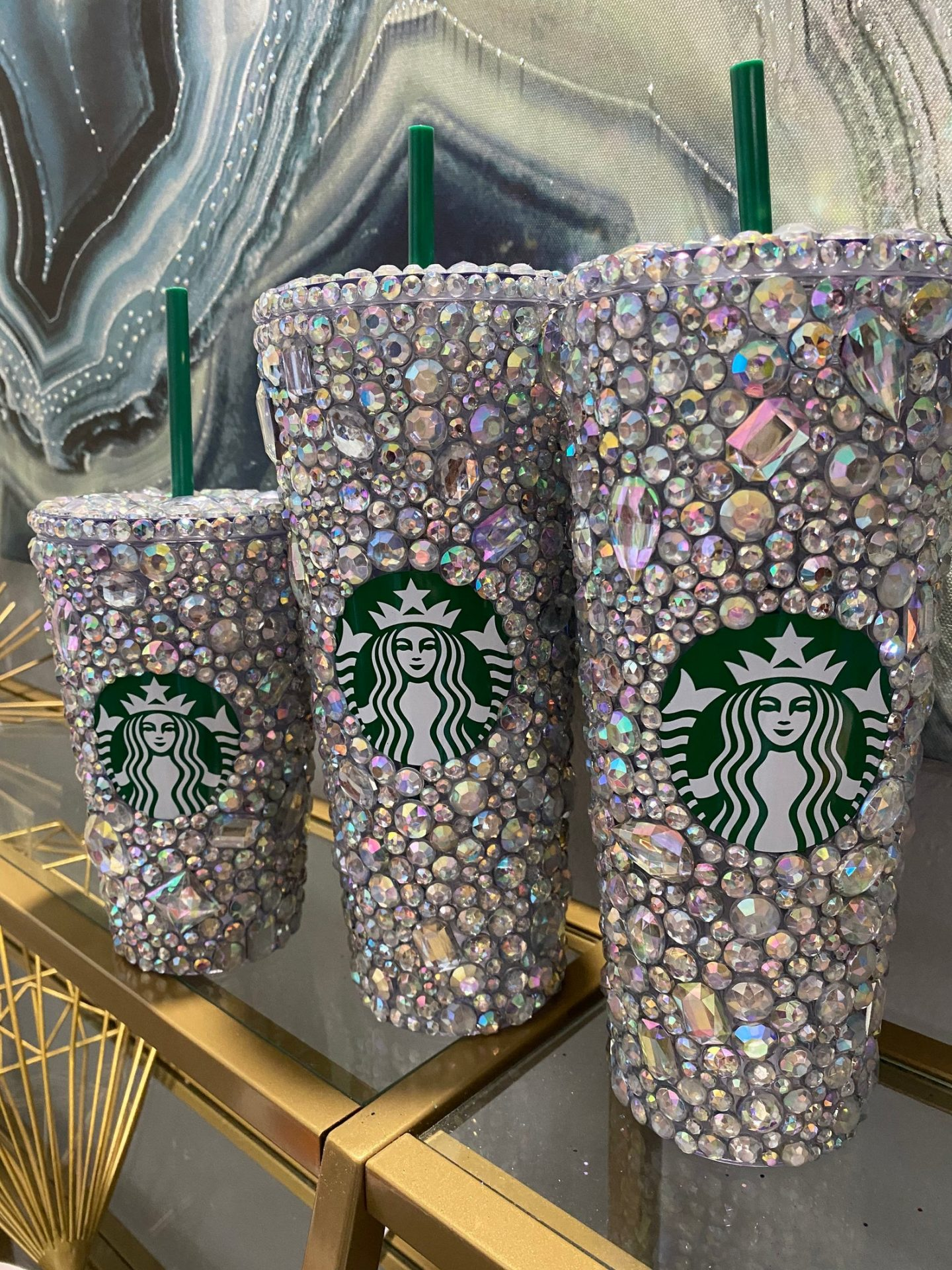 Cute customized Starbucks cup with rhinestones and bling