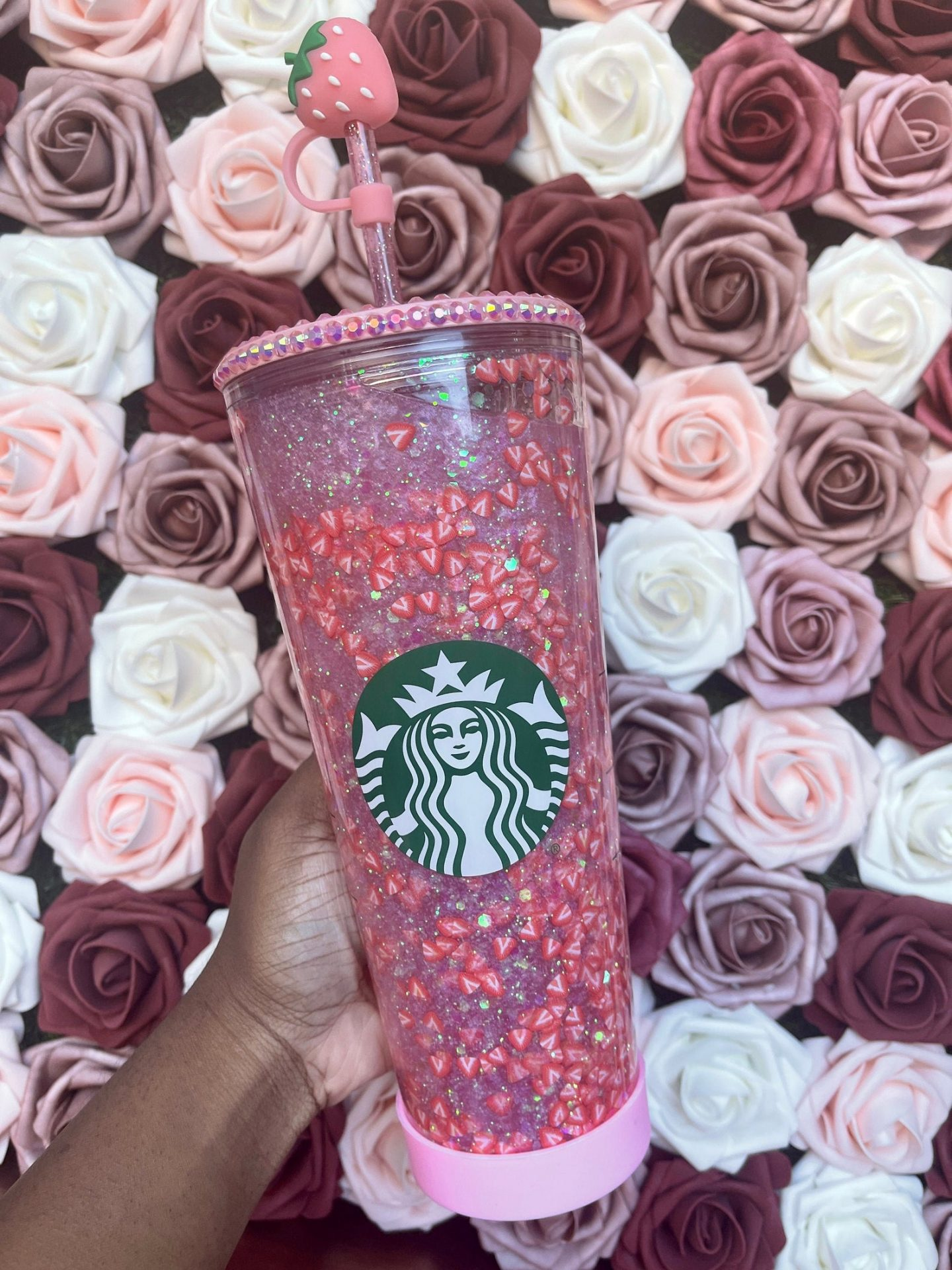 Cute pink strawberry customized Starbucks cup