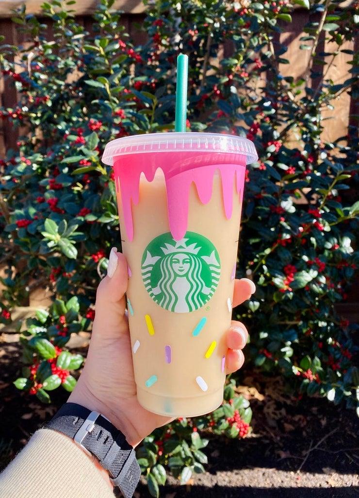 Personalized sprinkled donut Starbucks tumbler