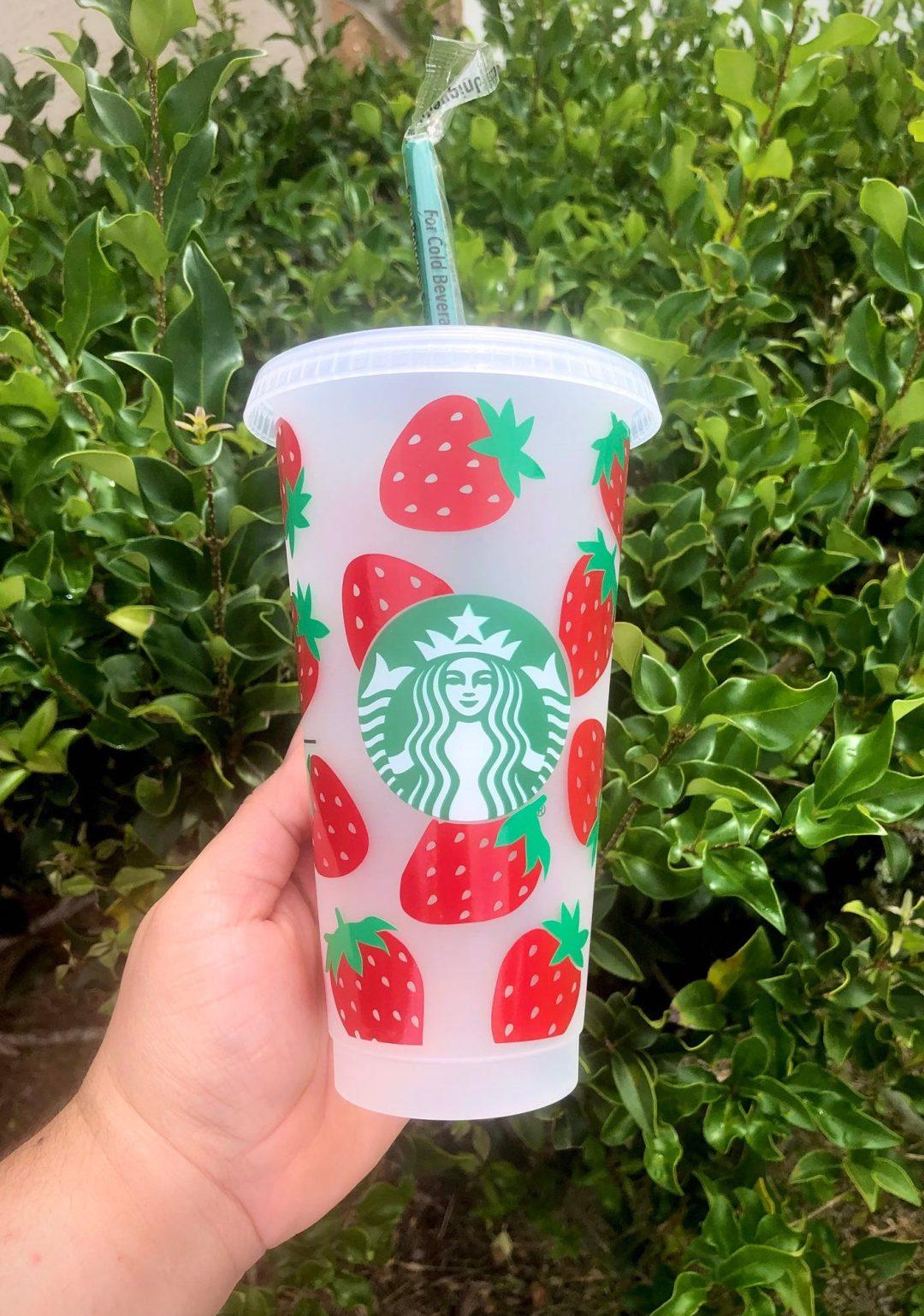 Customized strawberry Starbucks cup