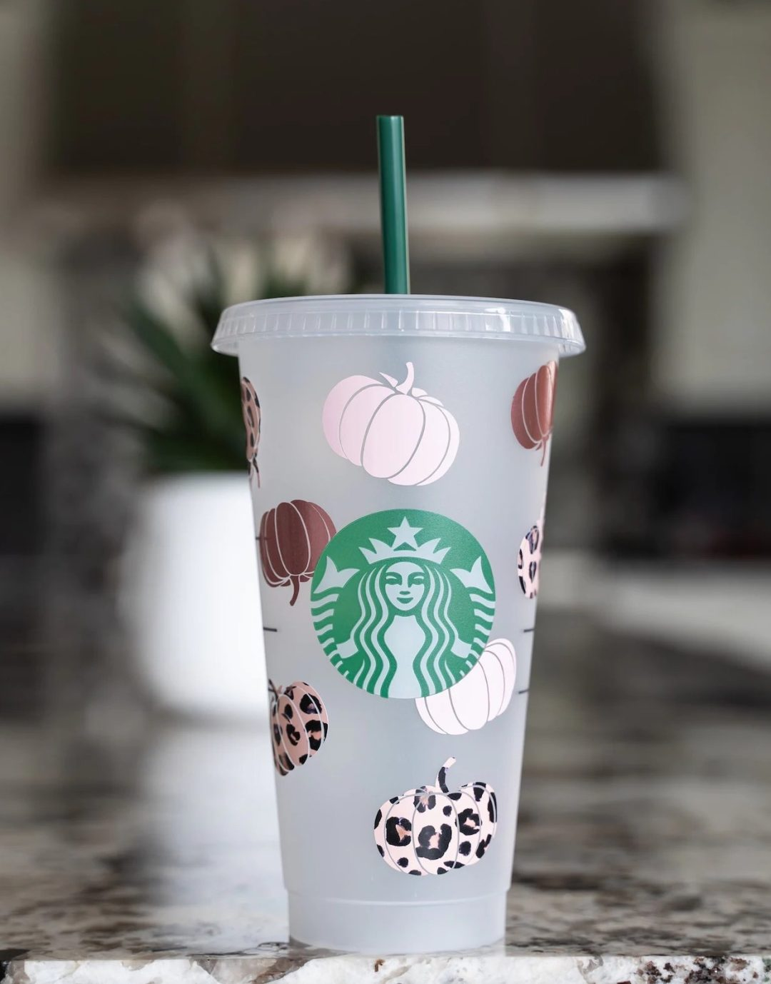 Fall customized Starbucks cup with pumpkins in rose gold and leopard print