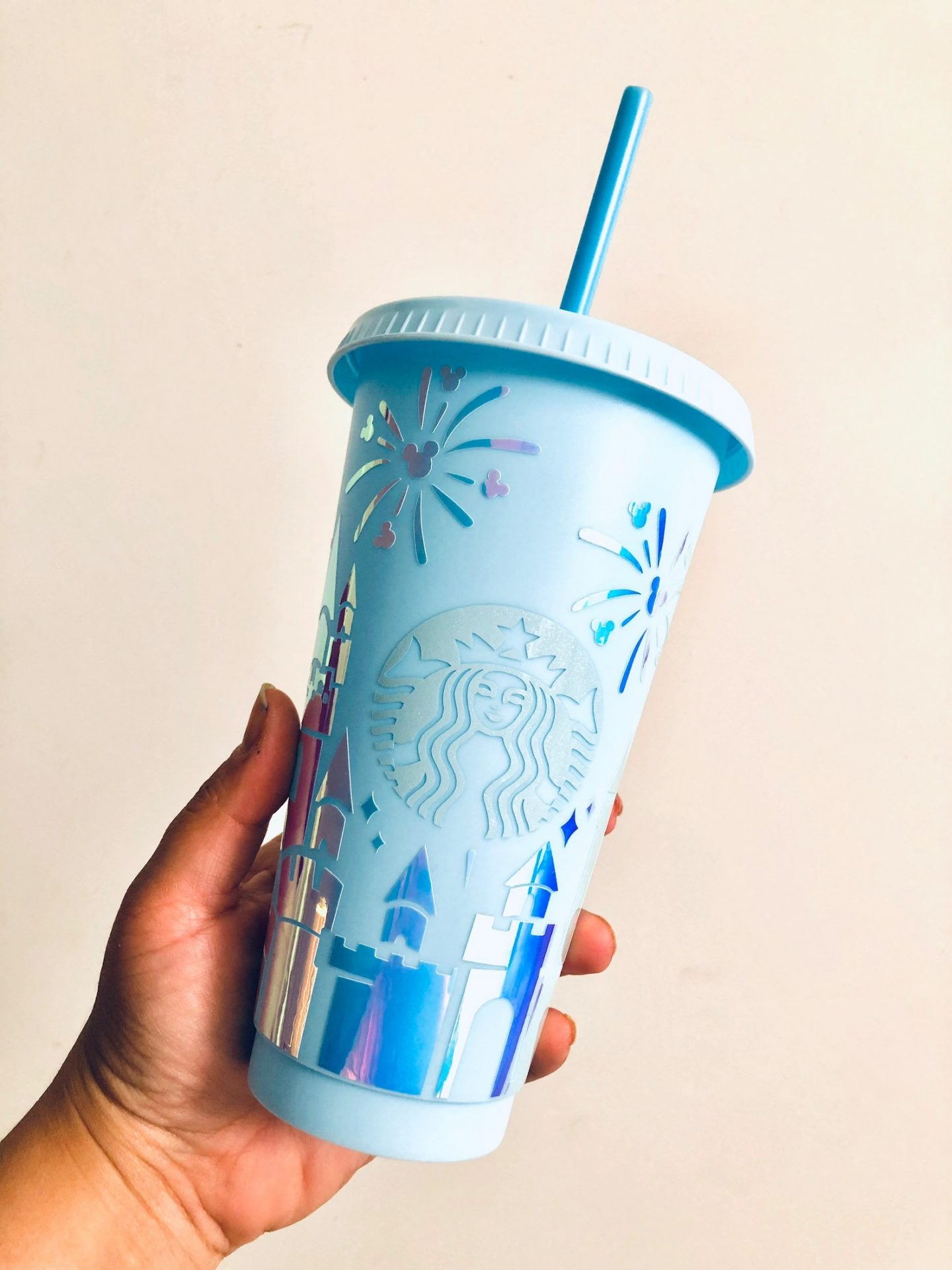 Light blue Disney personalized Starbucks cup