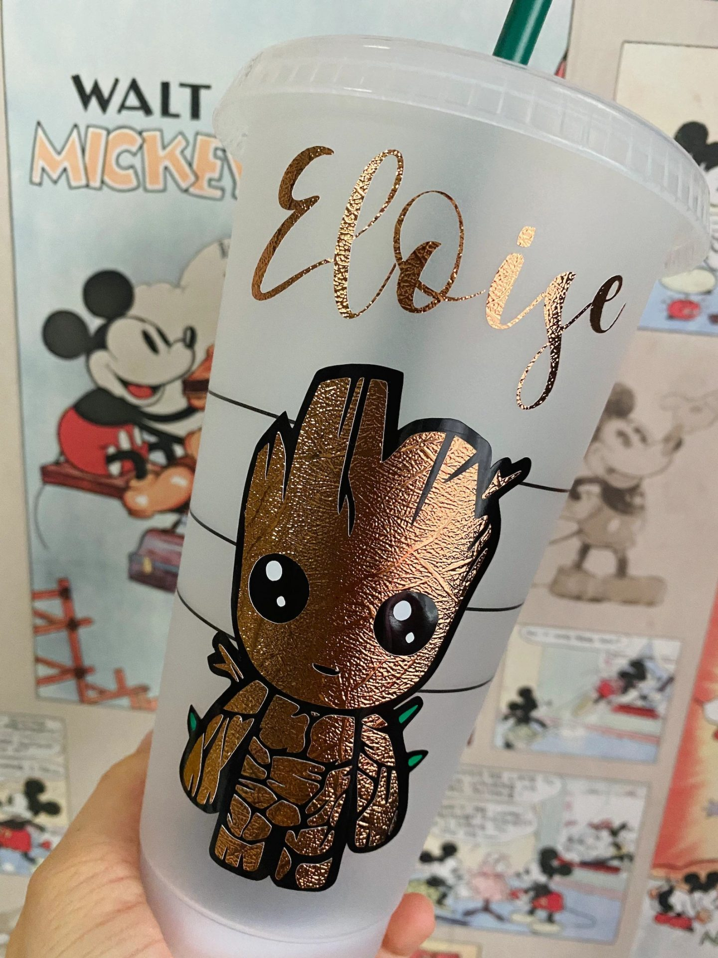 Personalized baby groot Starbucks cup