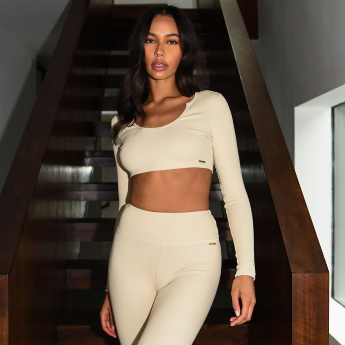 Cream long-sleeved cropped top