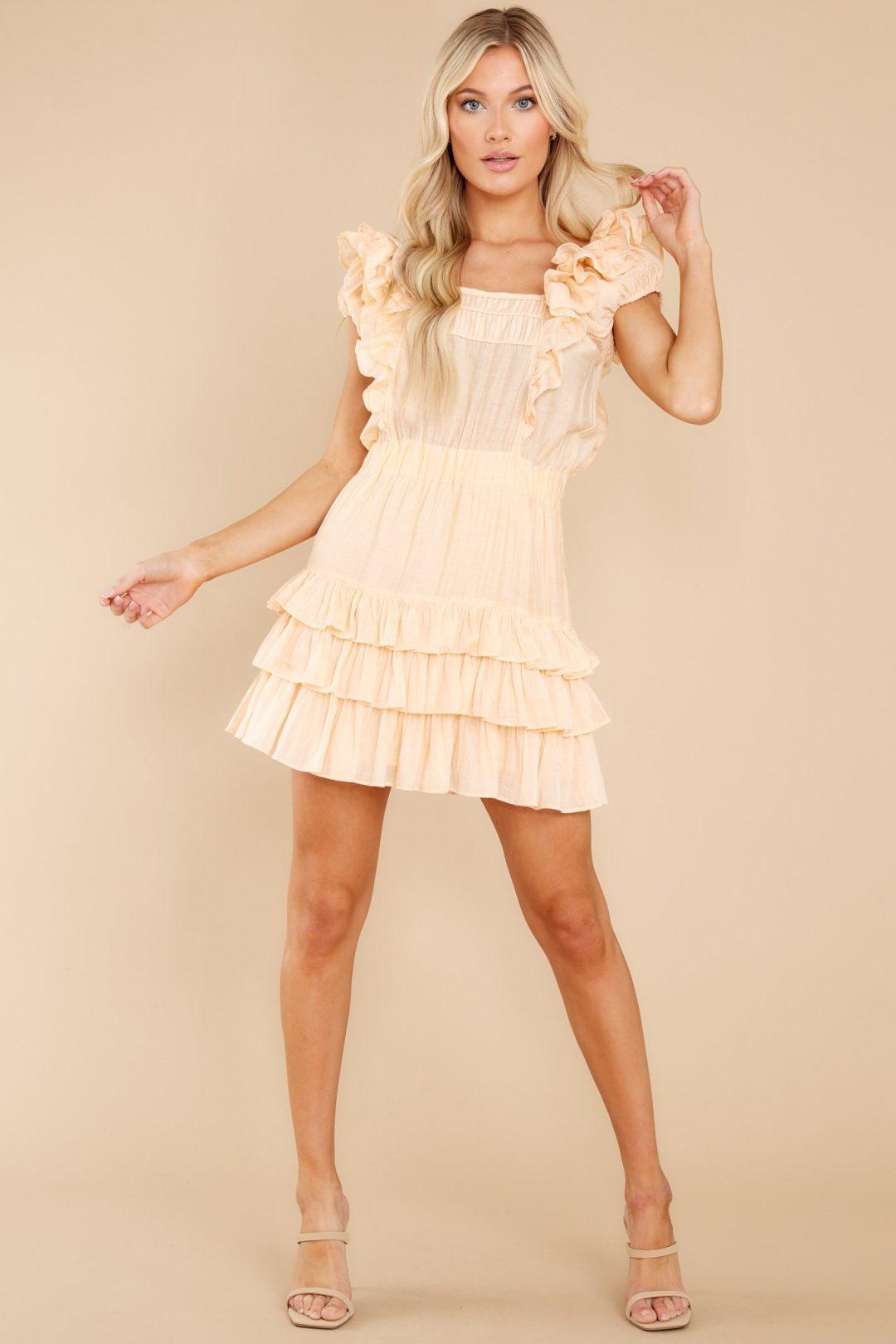 Light peach summer mini dress with ruffles