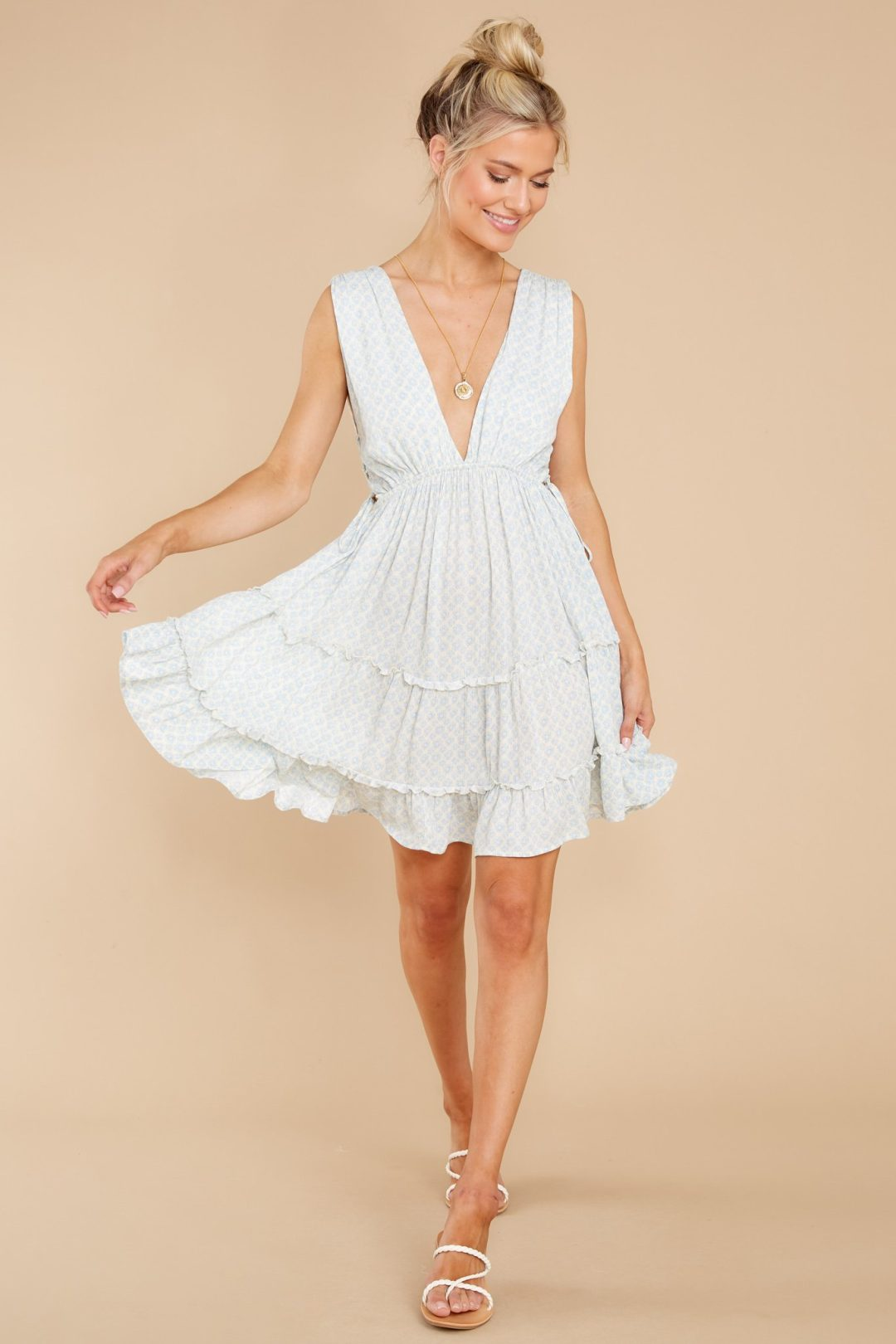 Cute light blue dress from stores like Hello Molly