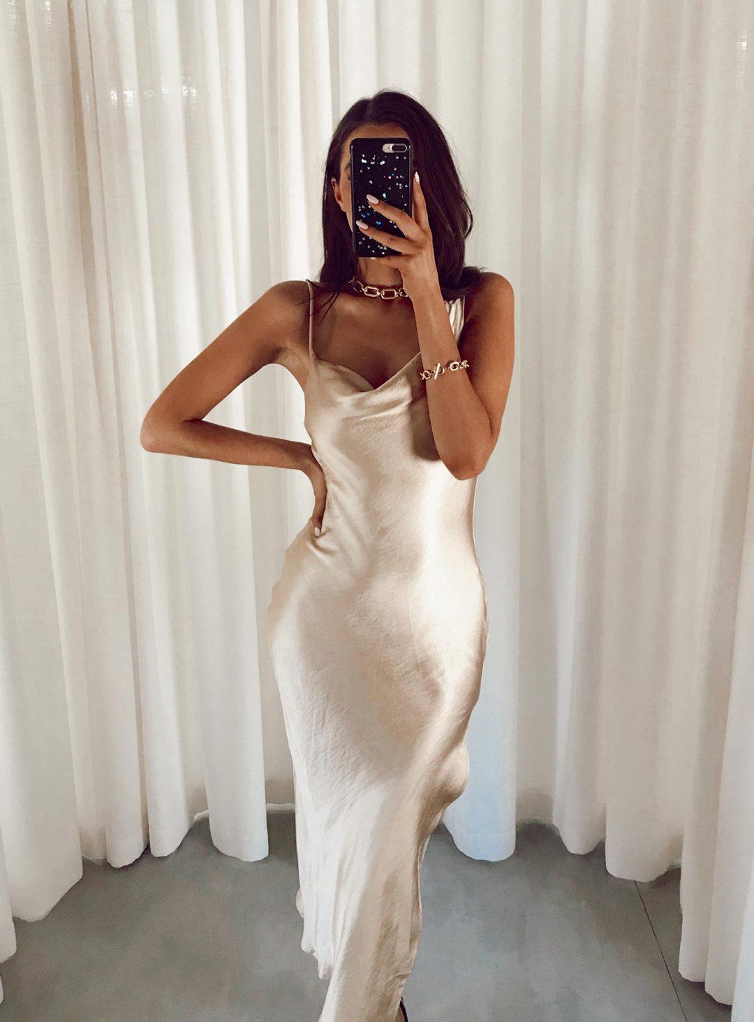 Champagne slip dress