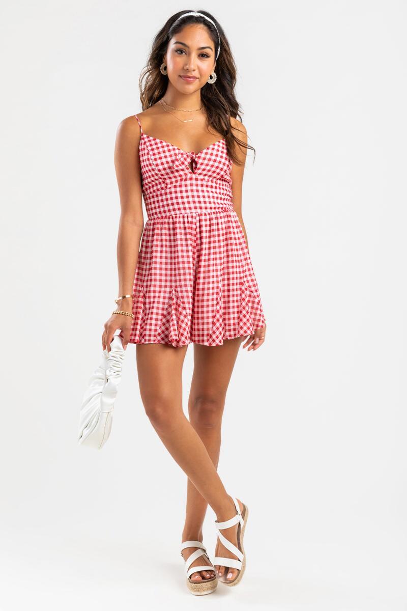 Cute red gingham dress for picnics