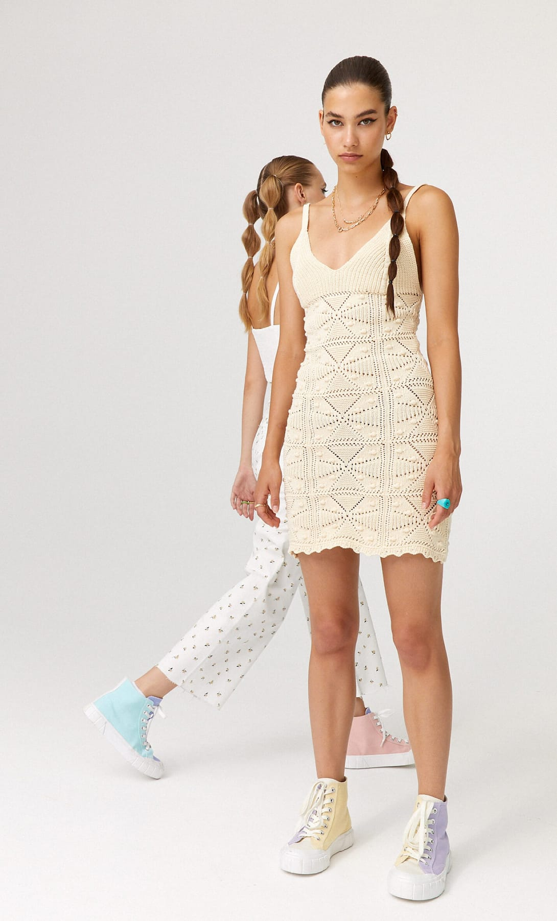Cute off white strappy knit dress