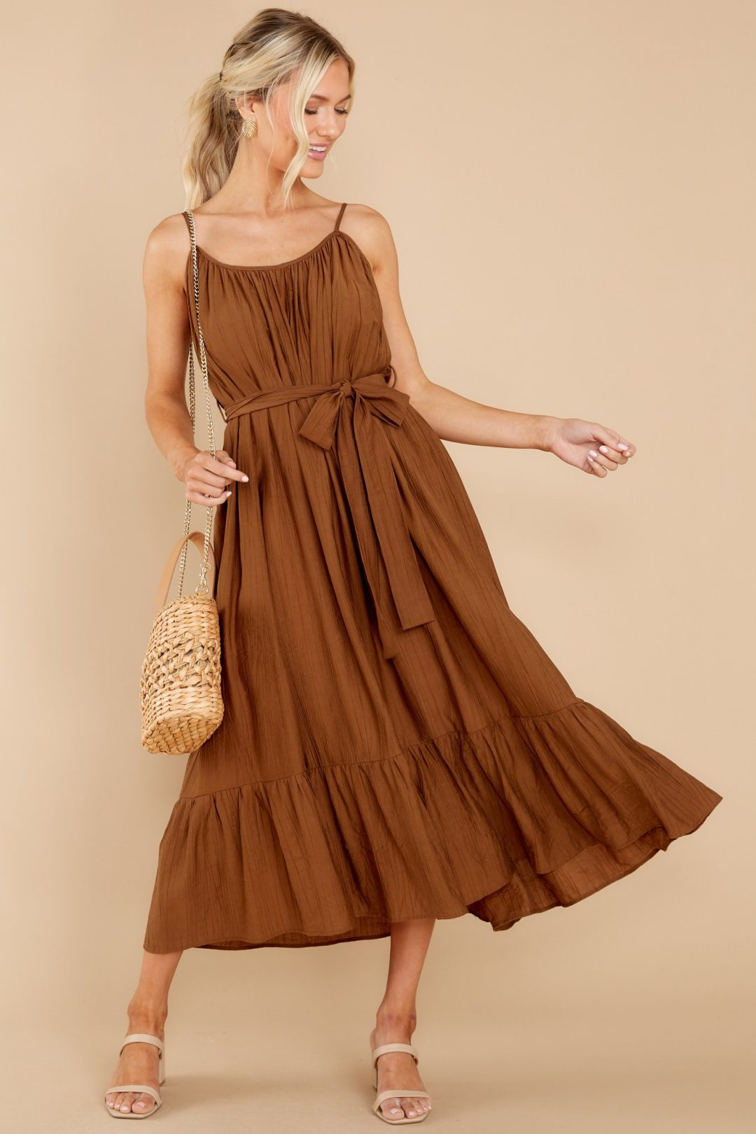Brown midi wrap dress