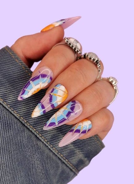 Lavender and purple tie dye nails