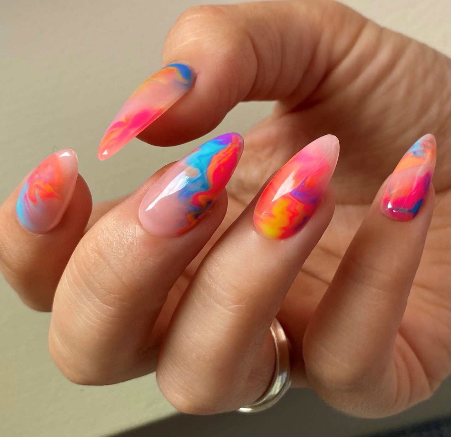 Cute pink and blue tie dye nails