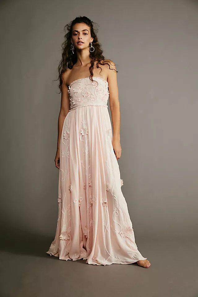 Tube top dusty pink summer maxi dress