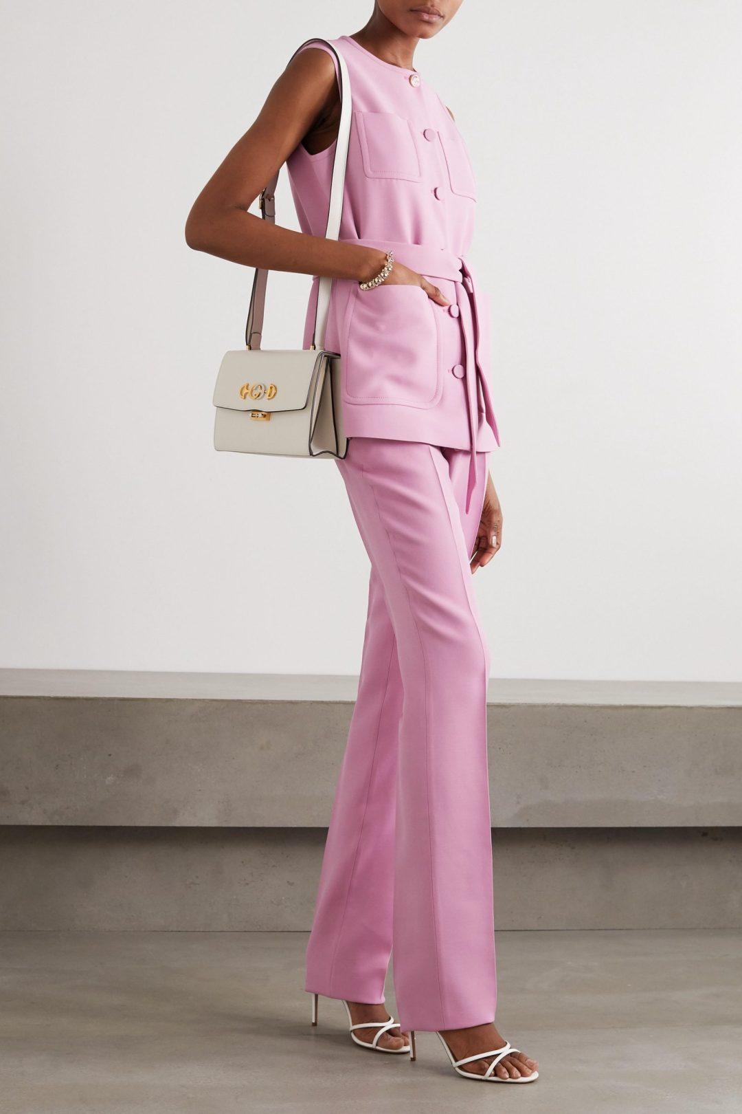 Pink vest trouser suit