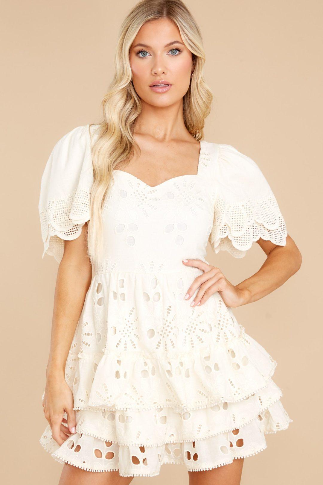 White eyelet mini dress with lace