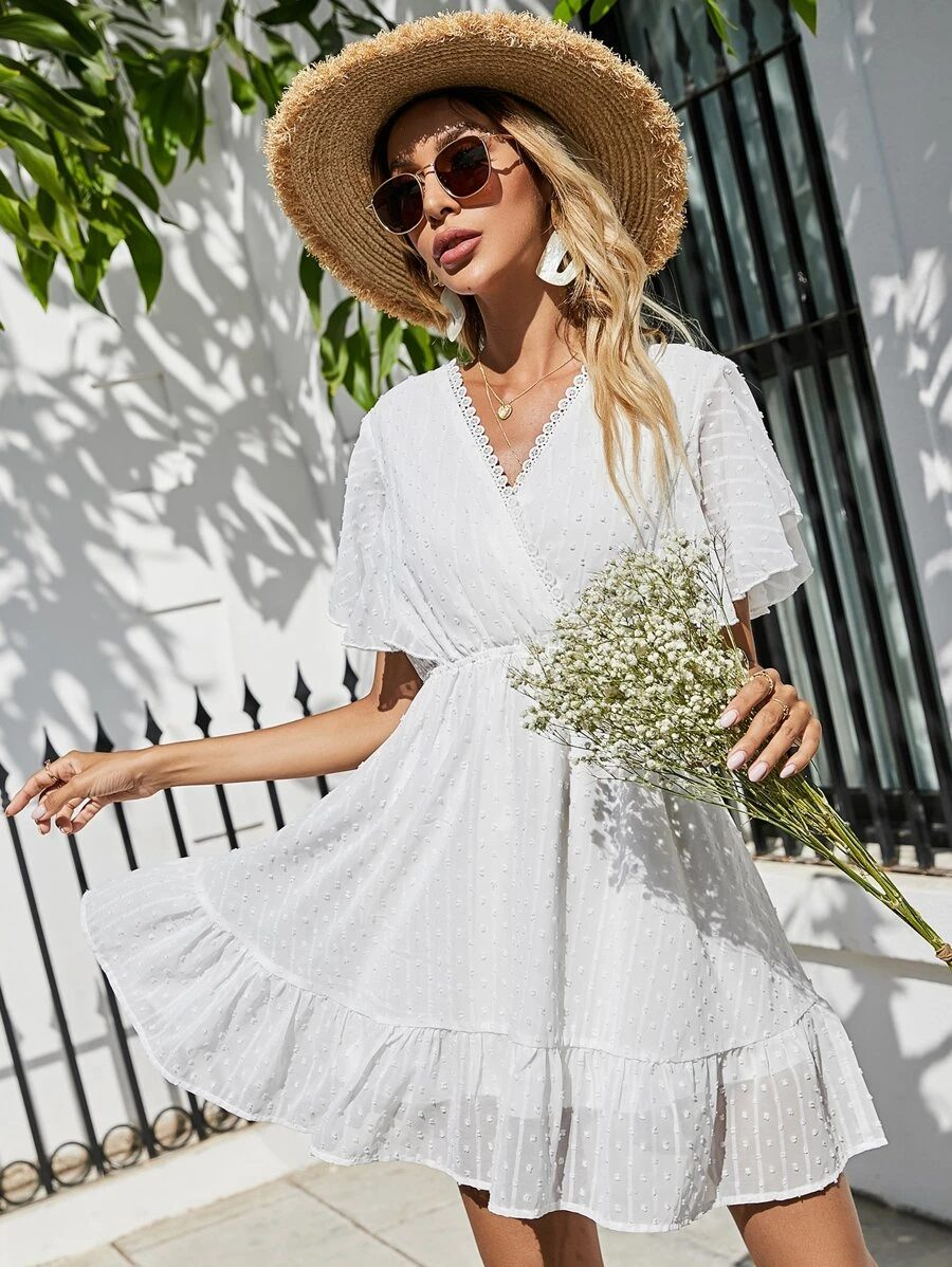 White casual summer dress in cottagecore style