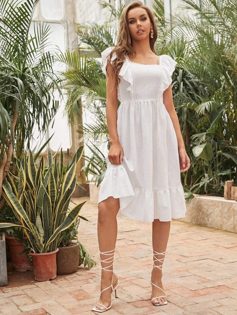 White midi dress with ruffled sleeves from Shein
