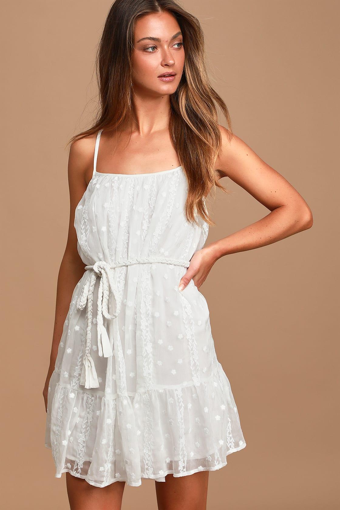 White embroidered mini dress