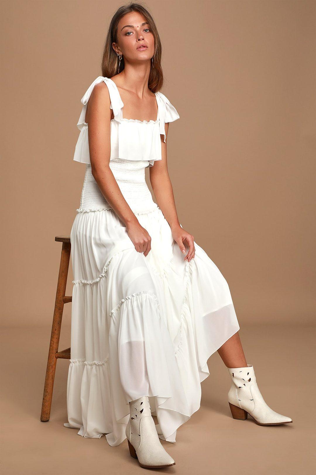 White bump friendly cottagecore dress