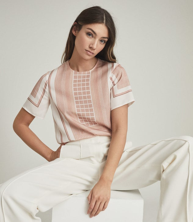 blushed pink Satin scarf blouse
