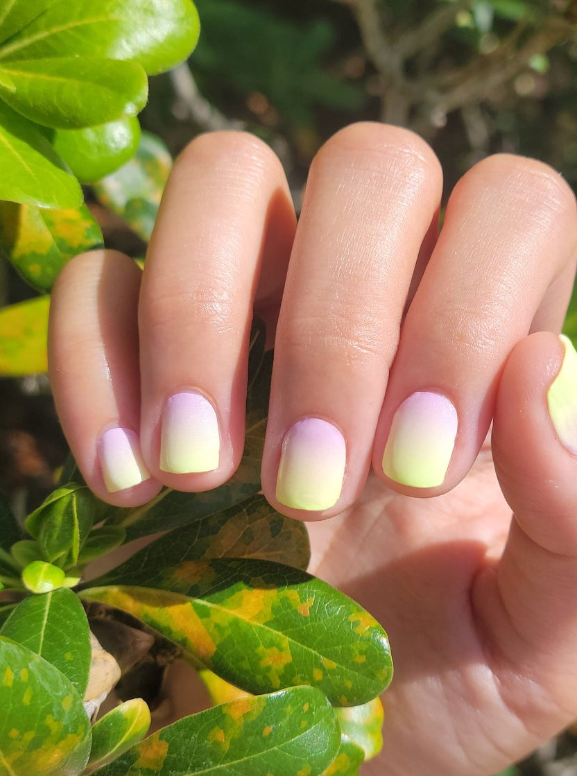 Pink and yellow ombre nail wraps
