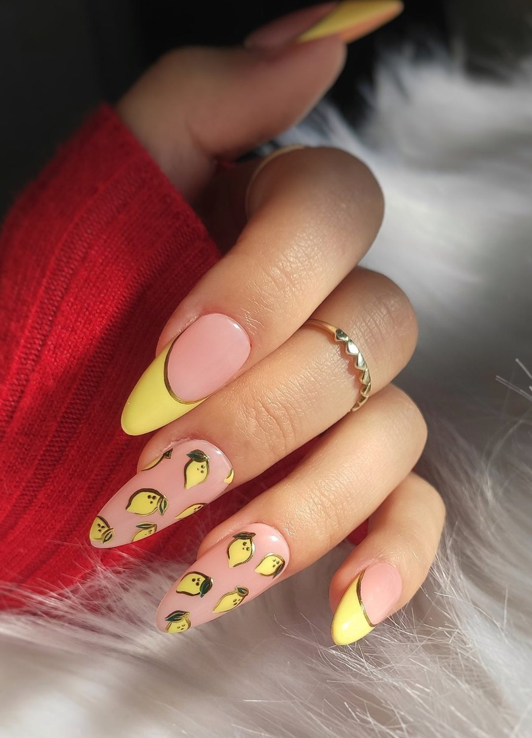 Light yellow lemon print nails with French tips