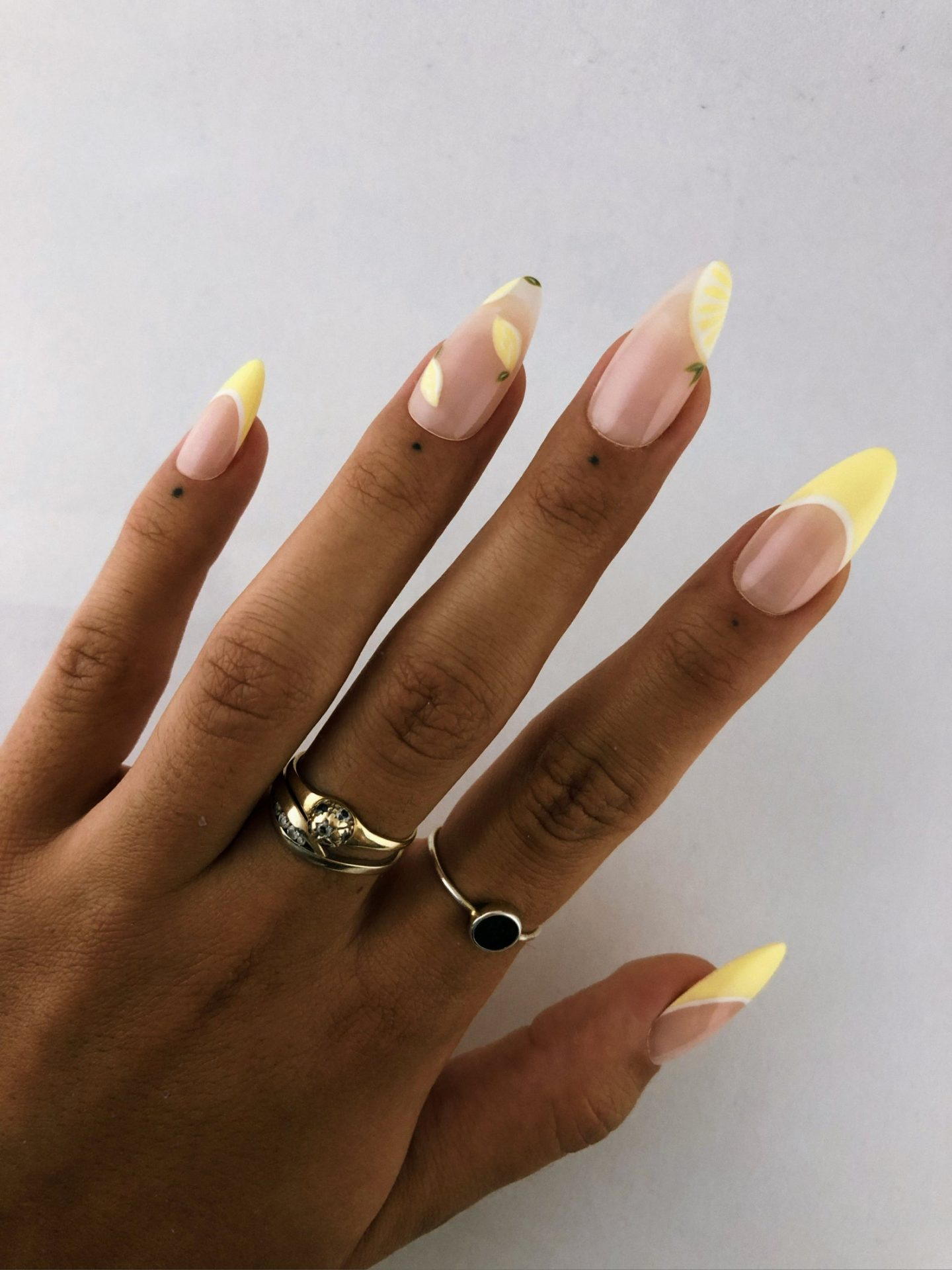 Lemon abstract French tip nails