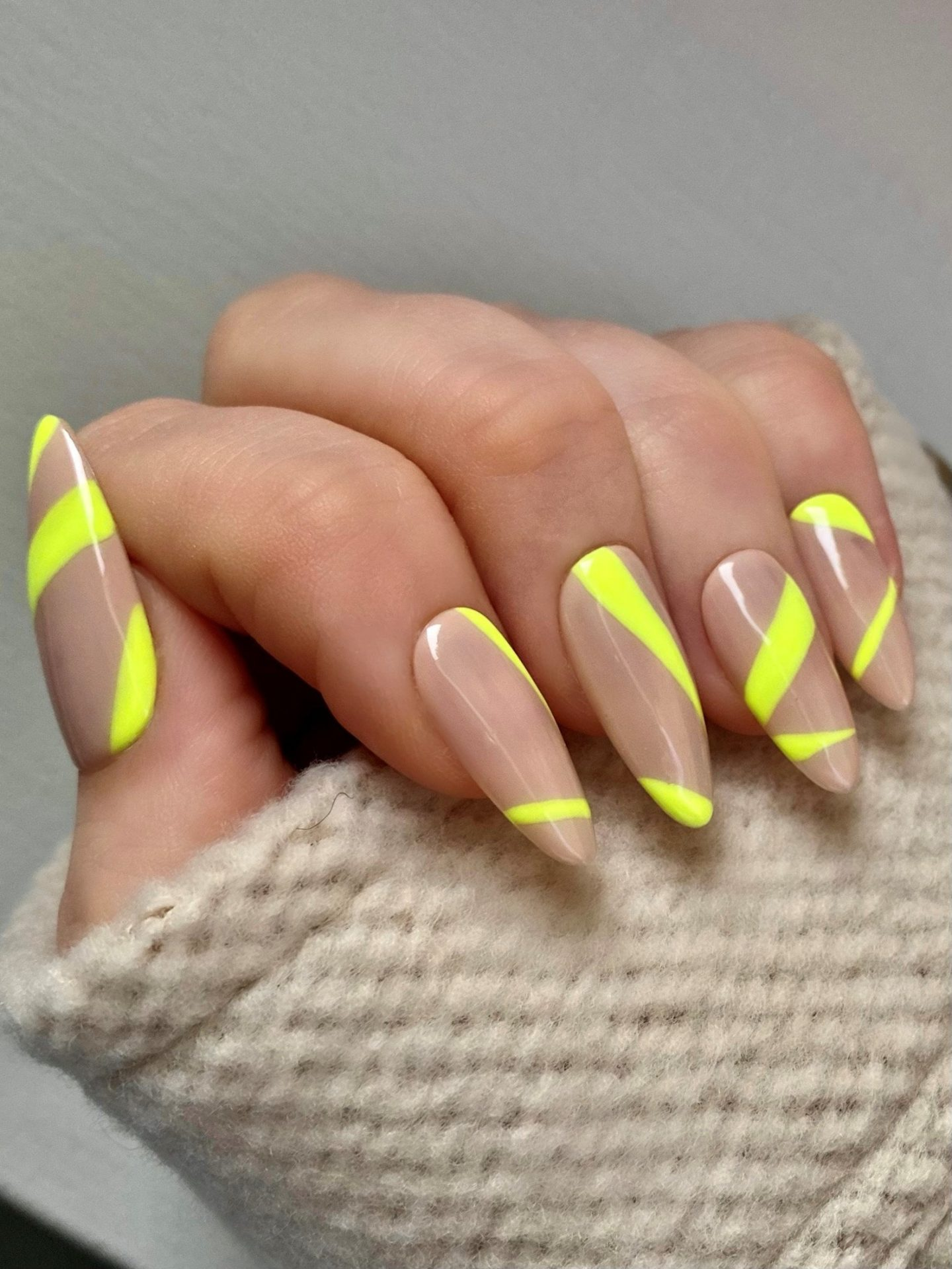 Neon yellow and nude abstract nails
