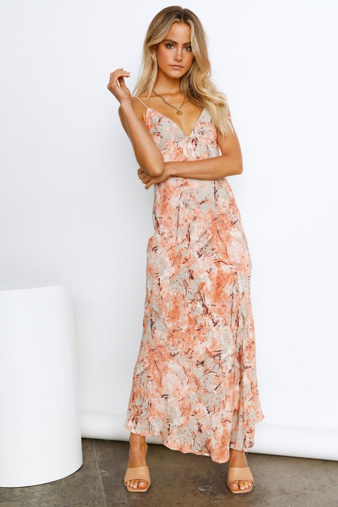 Soft orange maxi dress