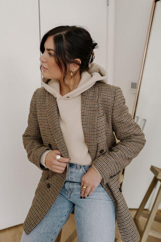 Beige hoodie with gingham blazer