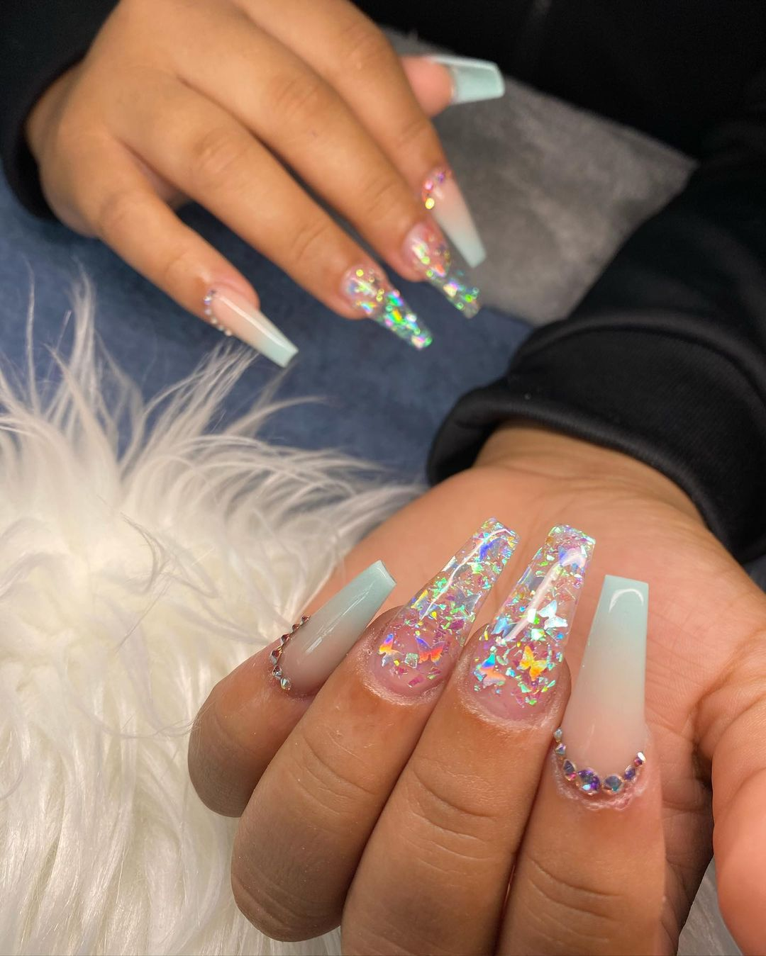 Ombre mint green nails with holographic glitter