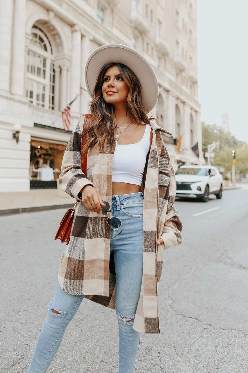 Cute outfit with plaid shacket