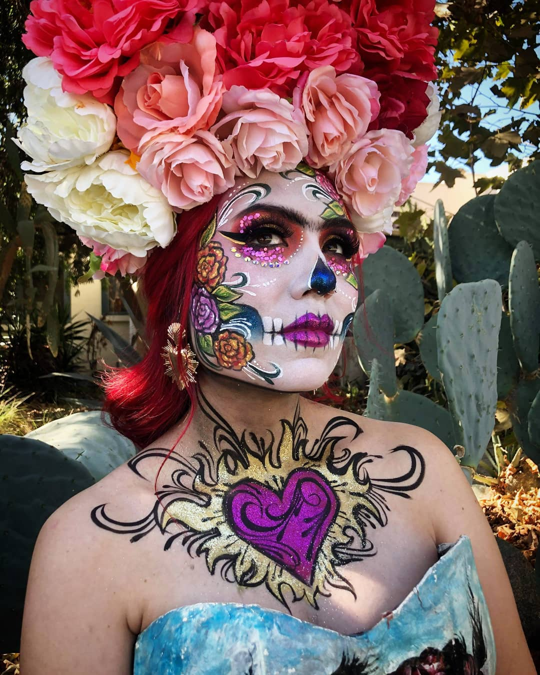 Peonies on hair with sugar skull for Day of The Dead Makeup Ideas