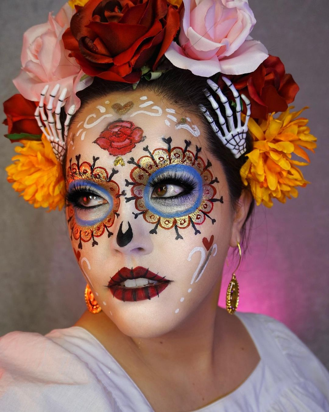 Roses on head with bones for Day of The Dead Makeup Ideas