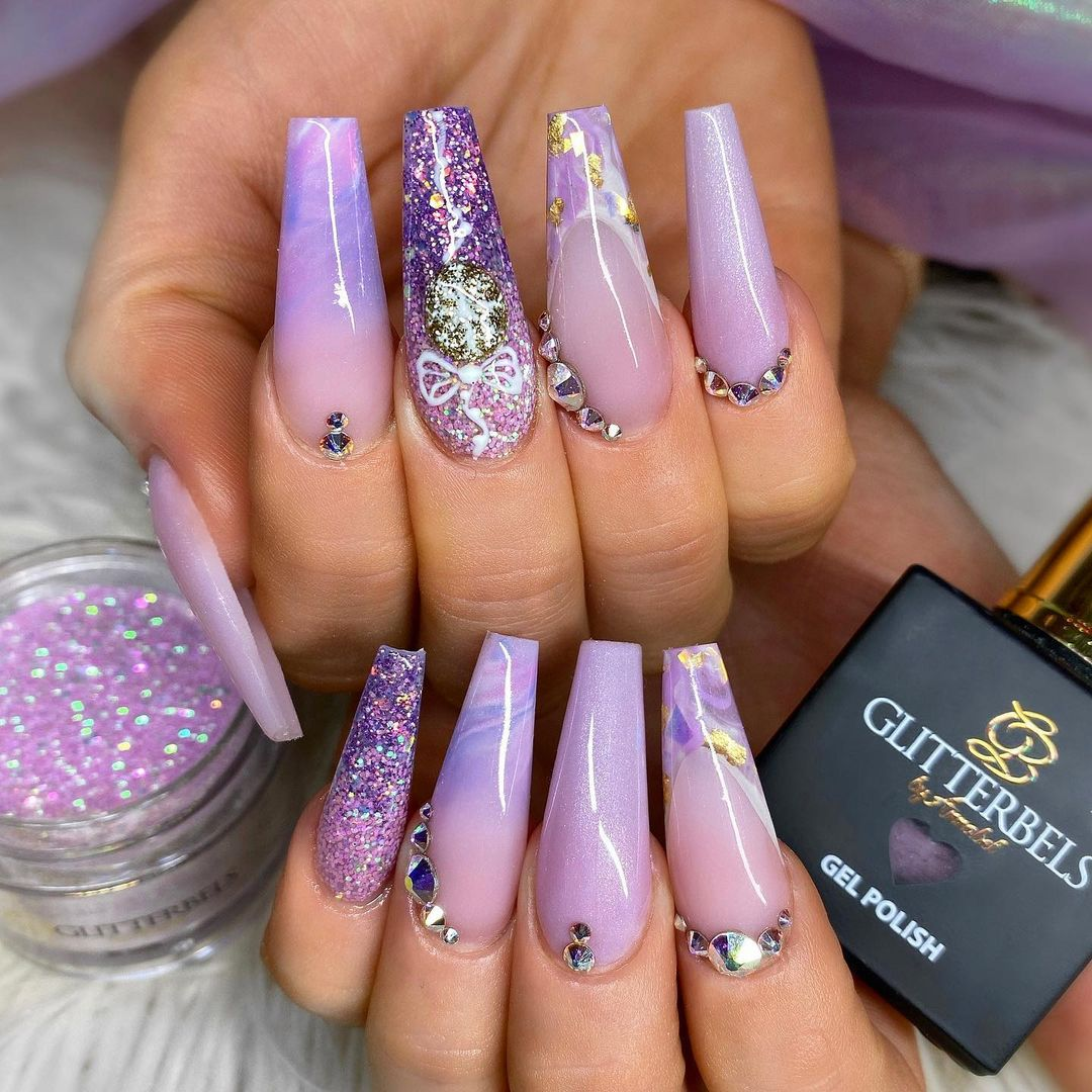 Lavender glitter and marble nails with rhinestones