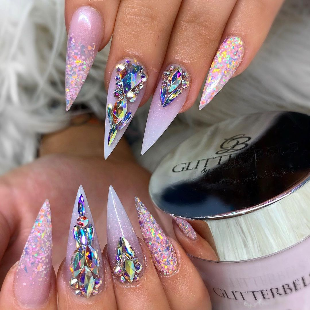 Holographic pink nails with rhinestones