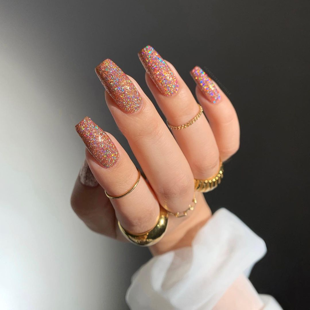 Multicolor glitter nails for New Years Eve nails