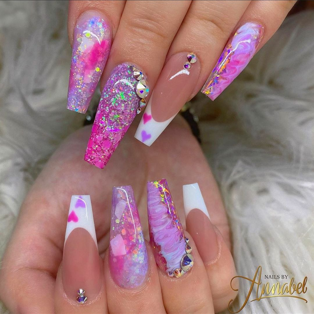 Pink marble holographic nails with rhinestones