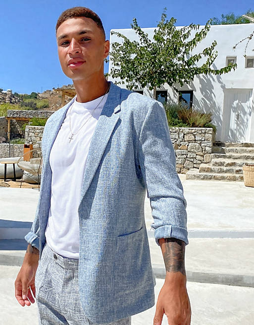 Blue blazer for beach wedding