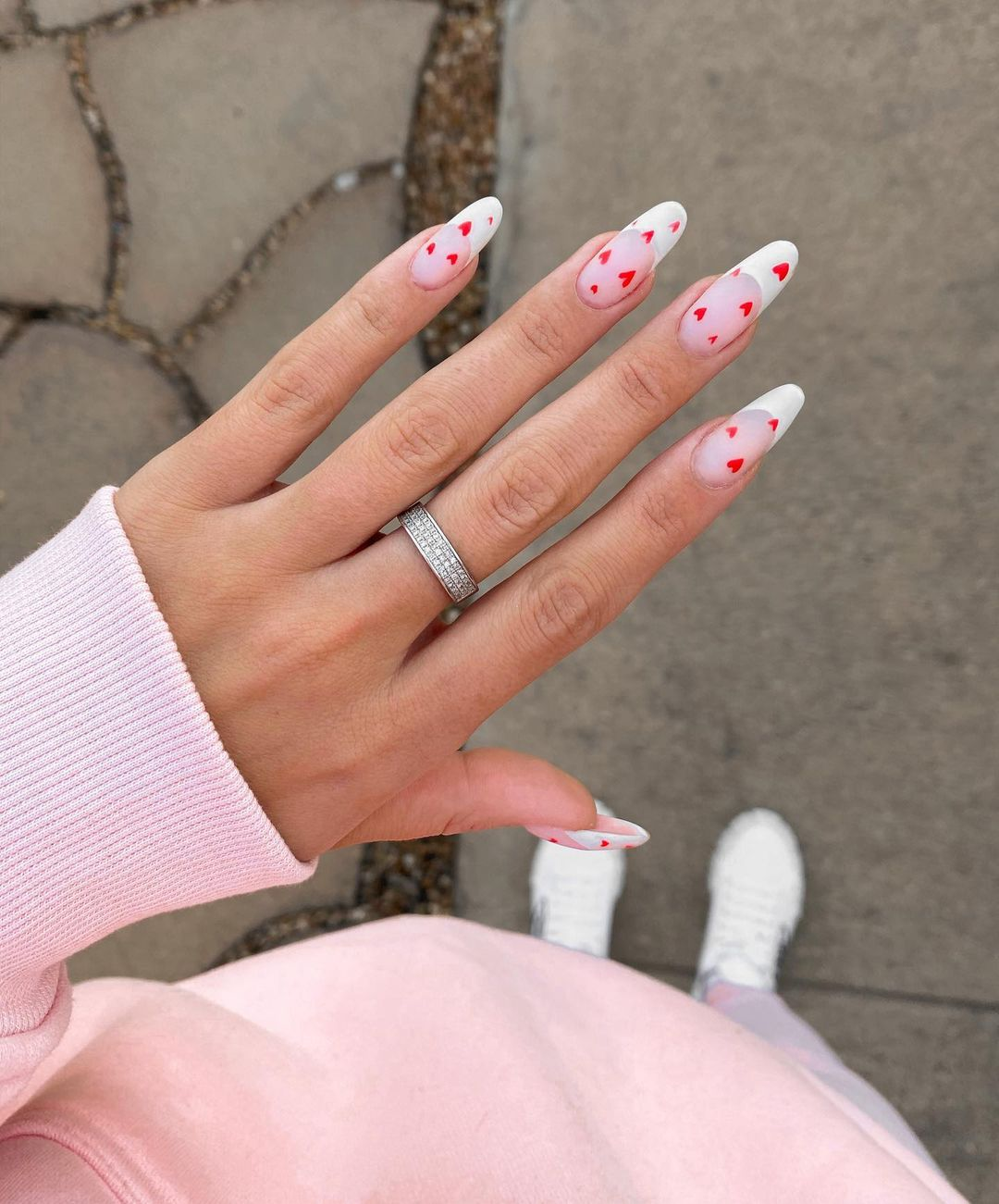 Cute French tip heart nails