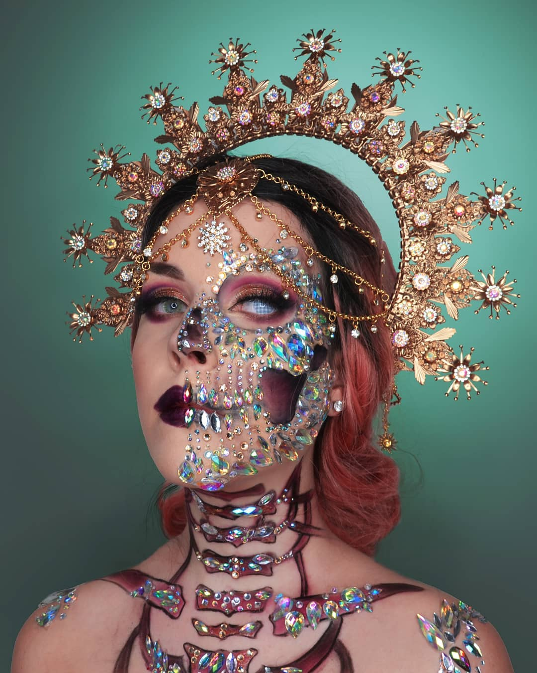 Bejewelled half sugar skull for Day of The Dead Makeup Ideas