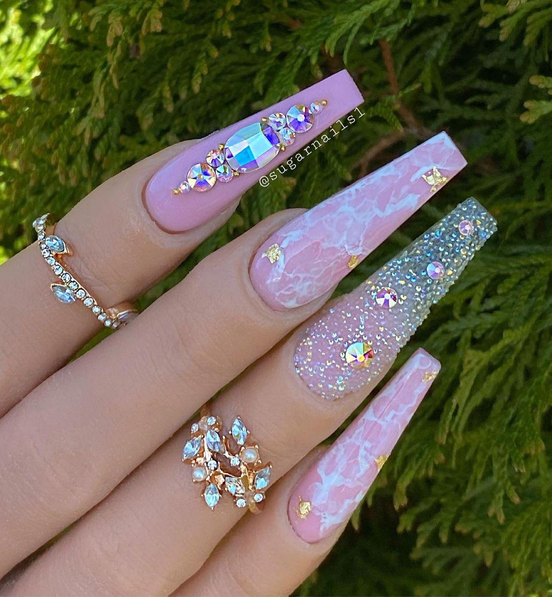 Soft pink marble rhinestone nails