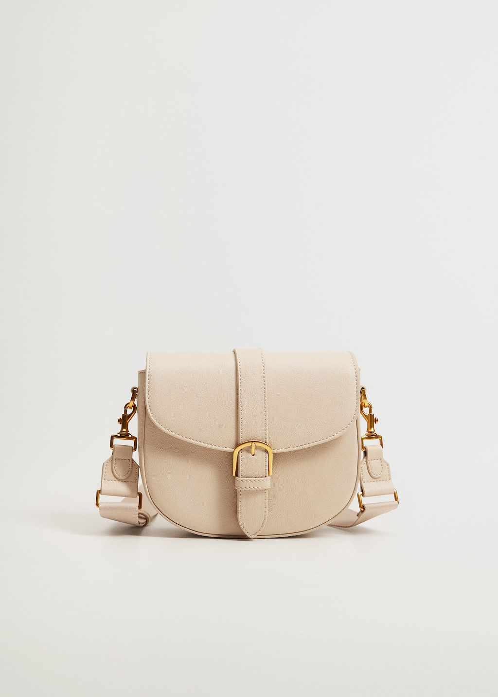 Beige Buckled Flap Bag from Mango
