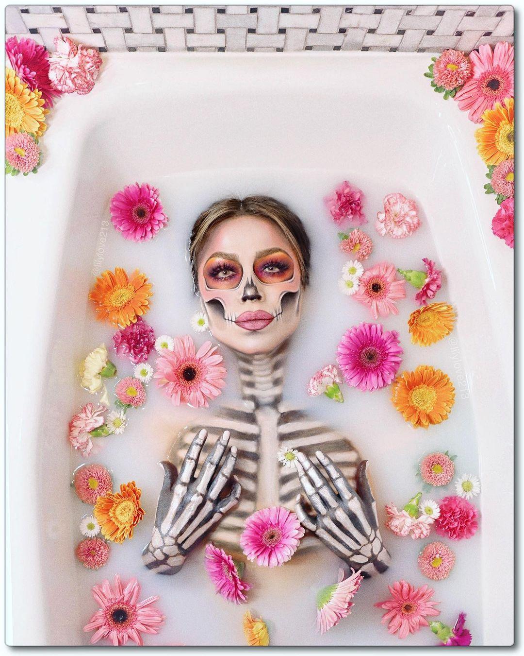 Milk bath sugar skull for Day of The Dead Makeup Ideas