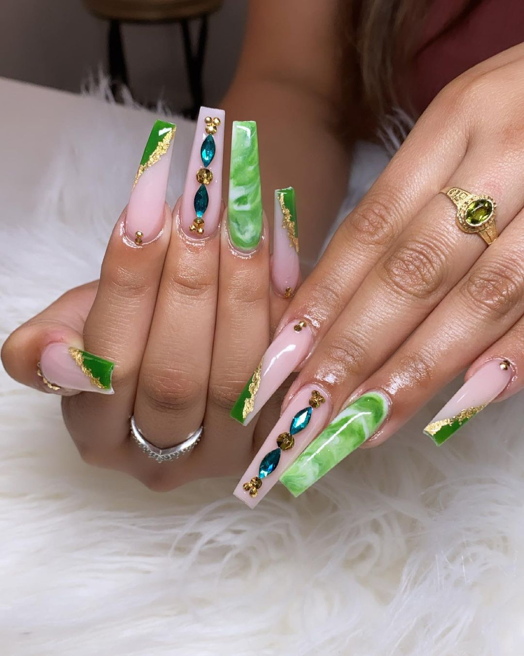 Green and nude marble graduation nails with rhinestones