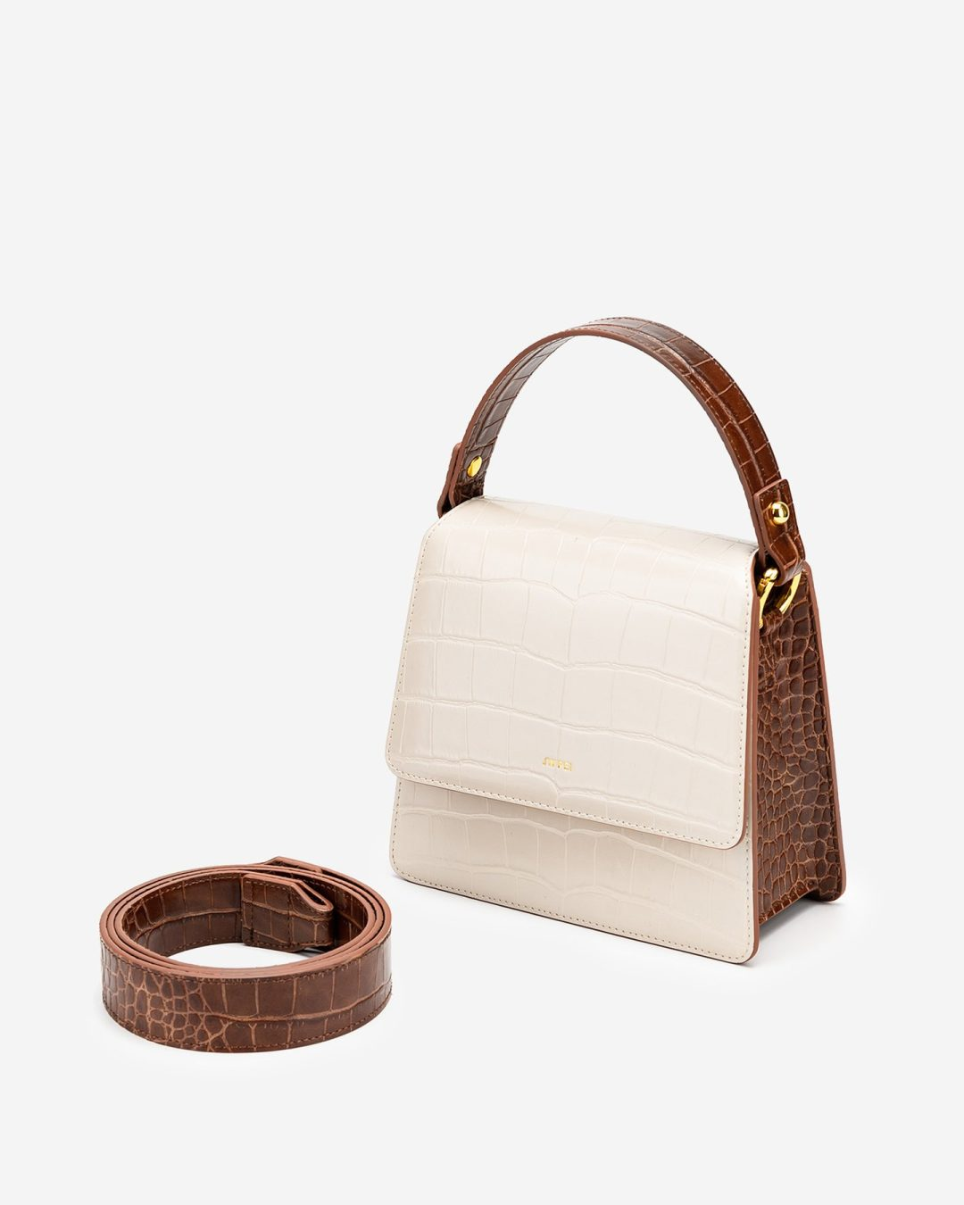 The Fae Acrylic in Beige & Brown Croc for best minimalist purses