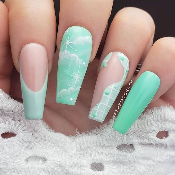 Mint green abstract cloud nails
